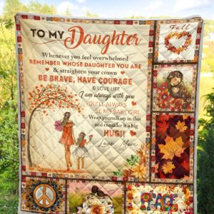 Personalized To my Daughter Fall In Love From Mom Hippie Peace Mom And Daughter Quilt Blanket Great Customized Blanket Gifts For Birthday Christmas Thanksgiving