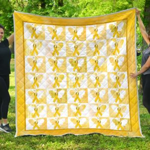 Childhood Cancer Butterfly Quilt Blanket Great Gifts For Birthday Christmas Thanksgiving Anniversary