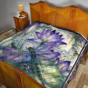 Dragonfly In Lotus Quilt Blanket Great Customized Blanket Gifts For Birthday Christmas Thanksgiving Anniversary