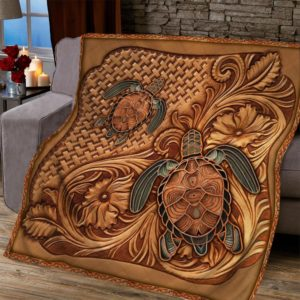 Turtles Wooden Carved Pattern Quilt Blanket Great Customized Blanket Gifts For Birthday Christmas Thanksgiving