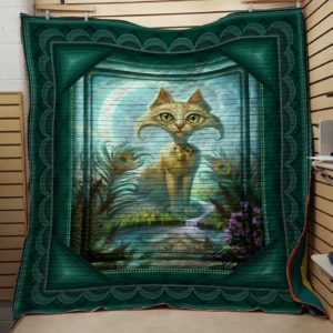 A Cat Sitting At The Riverbank  Drawing Quilt Blanket Great Customized Blanket Gifts For Birthday Christmas Thanksgiving