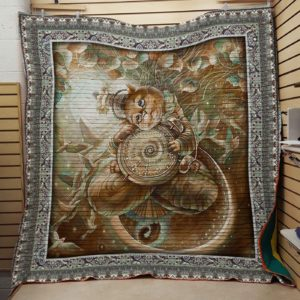 A Cat Holding A Clock Drawing Quilt Blanket Great Customized Blanket Gifts For Birthday Christmas Thanksgiving