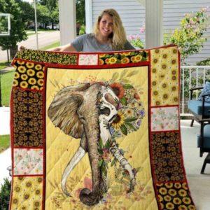 Elephants Sunflowers Skull Of Elephants Quilt Blanket Great Customized Blanket Gifts For Birthday Christmas Thanksgiving