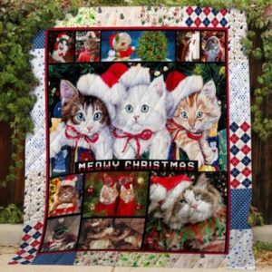 Christmas Cat Meowy Christmas Quilt Blanket Great Customized Blanket Gifts For Birthday Christmas Thanksgiving