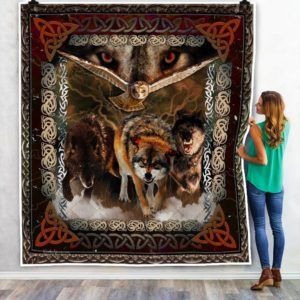 Viking Wolves And Owl Quilt Blanket Great Customized Blanket Gifts For Birthday Christmas Thanksgiving