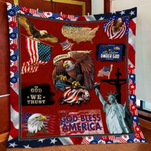 Patriotic Eagle God Bless America Liberty Statue Quilt Blanket Great Customized Blanket Gifts For Birthday Christmas Thanksgiving