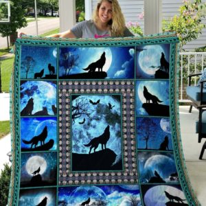 Wolf And Moon Quilt Blanket Great Customized Blanket Gifts For Birthday Christmas Thanksgiving Anniversary