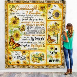 Personalized To My Granddaughter Never Forget That I Love You From Grandma Sunflowers Butterflies Quilt Blanket Great Customized Blanket Gifts For Birthday Christmas Thanksgiving