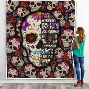 Skull And Rose I Am The Storm Quilt Blanket Great Customized Blanket Gifts For Birthday Christmas Thanksgiving Anniversary