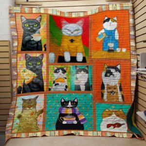 Cat Wearing Clothes And Making Coffee Quilt Blanket Great Customized Blanket Gifts For Birthday Christmas Thanksgiving
