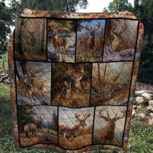 Alone Deer In The Forest Deer In The Riverbank Quilt Blanket Great Customized Blanket Gifts For Birthday Christmas Thanksgiving
