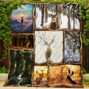 Deer Natural  Deer Standing In The Mist Cliff Quilt Blanket Great Customized Blanket Gifts For Birthday Christmas Thanksgiving