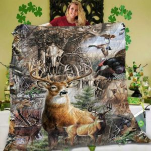 Deer Hunting Flying Duck Turkey Quilt Blanket Great Customized Blanket Gifts For Birthday Christmas Thanksgiving