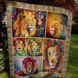 Colorful Lion Drawing Mature Male Lion Painting Quilt Blanket Great Customized Blanket Gifts For Birthday Christmas Thanksgiving