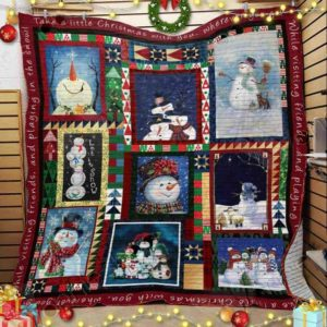 Christmas Funny Snowman Take A Little Christmas With You Quilt Blanket Great Customized Blanket Gifts For Birthday Christmas Thanksgiving