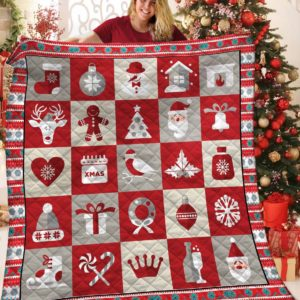 Christmas Things Gingerbread Santa Claus Deer Quilt Blanket Great Customized Blanket Gifts For Birthday Christmas Thanksgiving
