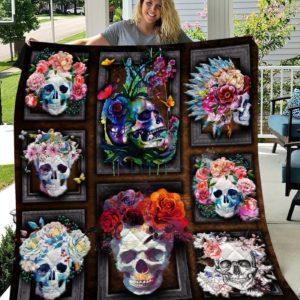 Flower Skull Colored Roses Quilt Blanket Great Customized Blanket Gifts For Birthday Christmas Thanksgiving