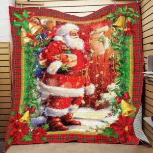 Christmas Santa Claus Double Check His List Quilt Blanket Great Customized Blanket Gifts For Birthday Christmas Thanksgiving
