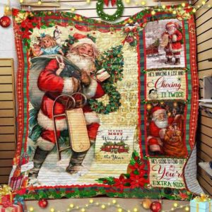 Christmas Santa Claus And His Gift Bag Quilt Blanket Great Customized Blanket Gifts For Birthday Christmas Thanksgiving