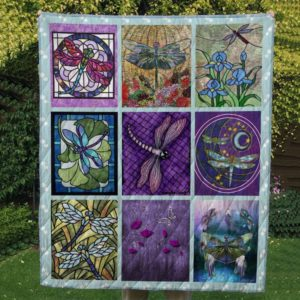 Dragonfly Drawing Flower Stained Glass Dragonfly Quilt Blanket Great Customized Blanket Gifts For Birthday Christmas Thanksgiving