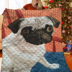 Pug Dog Cute Quilt Blanket Great Customized Gifts For Birthday Christmas Thanksgiving Anniversary