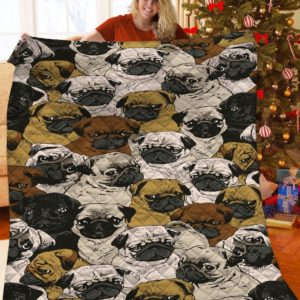 Pug Drawing Emotion Quilt Blanket Great Customized Gifts For Birthday Christmas Thanksgiving Anniversary