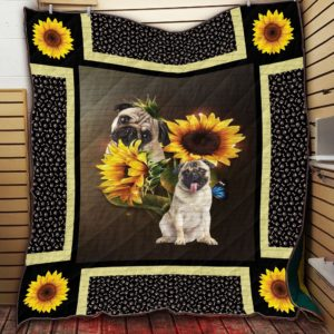 Pug Dog And Sunflower Quilt Blanket
