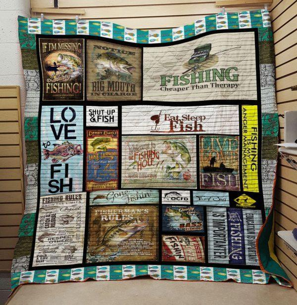 Fishing Eat Sleep Fish Quilt Blanket Great Customized Gifts For Birthday Christmas Thanksgiving Perfect Gifts For Fishing Lover