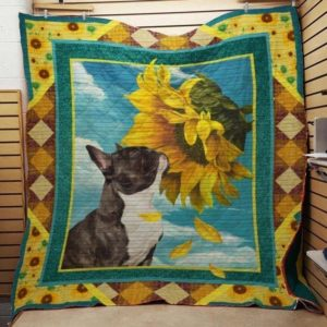 French Bulldog And Sunflower Quilt Blanket Great Customized Blanket Gifts For Birthday Christmas Thanksgiving Anniversary