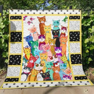 Multicolor Cats For Cat Lovers Quilt Blanket Great Customized Blanket Gifts For Birthday Christmas Thanksgiving Anniversary