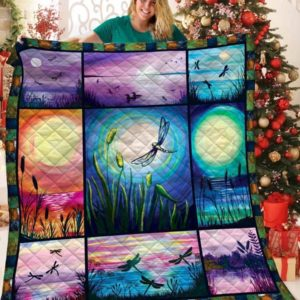 Animal Dragonfly With Moonlight Quilt Blanket Great Customized Gifts For Birthday Christmas Thanksgiving Anniversary