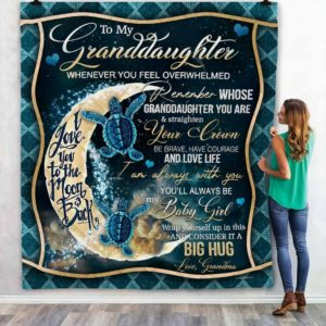 Personalized Turtle To My Granddaughter I Love You To The Moon And Back From Grandma Quilt Blanket Great Customized Blanket Gifts For Birthday Christmas Thanksgiving Anniversary