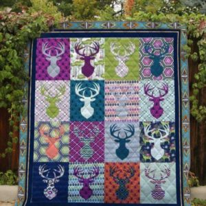 Deer Head Pattern Colorful Quilt Blanket Great Customized Blanket Gifts For Birthday Christmas Thanksgiving Anniversary