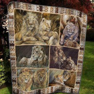Lion Love Couple Drawing Quilt Blanket Great Customized Blanket Gifts For Birthday Christmas Thanksgiving Anniversary