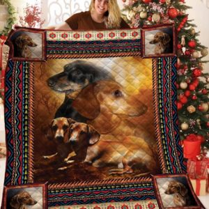 Dachshund Dog Best Friend , Harmony Dogs Quilt Blanket Great Customized Blanket Gifts For Birthday Christmas Thanksgiving