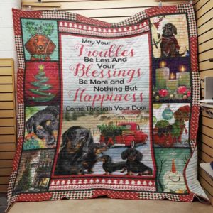 Dachshund Dog Drawing Christmas, Your Happiness Come Through The Door, Small Dogs Quilt Blanket Great Customized Blanket Gifts For Birthday Christmas Thanksgiving