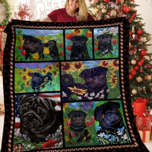 Black Pug Dogs And Sun Flowers Quilt Blanket