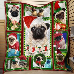 Merry Christmas Pug Dogs Quilt Blanket Best Gifts for Christmas