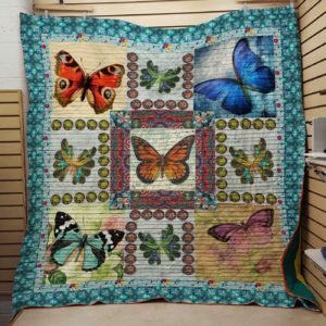 Butterfly  Ocean Eyes Circle Patterns Quilt Blanket Great Customized Blanket Gifts For Birthday Christmas Thanksgiving