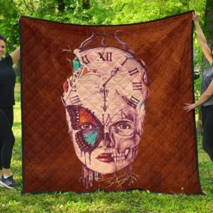 Butterfly Time Clock Skull Quilt Blanket Great Customized Blanket Gifts For Birthday Christmas Thanksgiving