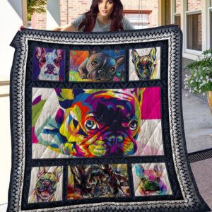 Colorful French Bulldog Quilt Blanket Great Customized Blanket Gifts For Birthday Christmas Thanksgiving