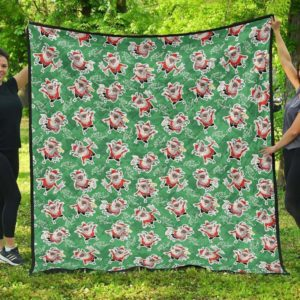 Krampus Green Background With Krampus Quilt Blanket Great Customized Blanket Gifts For Birthday Christmas Thanksgiving
