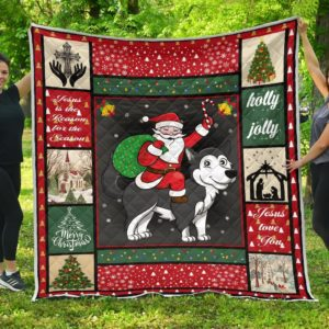 Christmas Husky And Santa Riding A Husky Quilt Blanket Great Customized Blanket Gifts For Birthday Christmas Thanksgiving