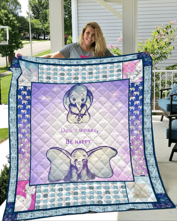 Elephant Family Don't Worry Be Happy Quilt Blanket Great Customized Gifts For Birthday Christmas Thanksgiving Perfect Gifts For Elephant Lover