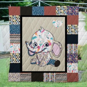 Happy Face Of Baby Elephant Quilt Blanket Great Customized Blanket Gifts For Birthday Christmas Thanksgiving