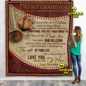 Personalized Baseball To My Grandson Love You For The Rest Of Mine From Grandma Quilt Blanket Great Customized Blanket Gifts For Birthday Christmas Thanksgiving