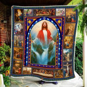 Jesus, River Of Life Christian Jesus Waterfall Quilt Blanket Great Customized Blanket Gifts For Birthday Christmas Thanksgiving