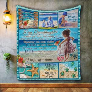 Personalized To Granddaughter When You Stand Beside  A Little Girl With Barefoot On The Beach Quilt Blanket Great Customized Blanket Gifts For Birthday Christmas Thanksgiving