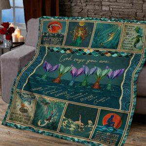 God Says You Are Mermaid Diving Mermaid's Tails Quilt Blanket Great Customized Blanket Gifts For Birthday Christmas Thanksgiving