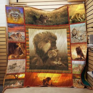Lion Family In Nature Quilt Blanket Great Customized Blanket Gifts For Birthday Christmas Thanksgiving